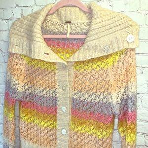 FREE PEOPLE Mohair Pastel Rainbow Cardigan